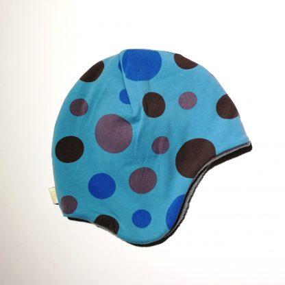 Hjelmlue blå med sirkler