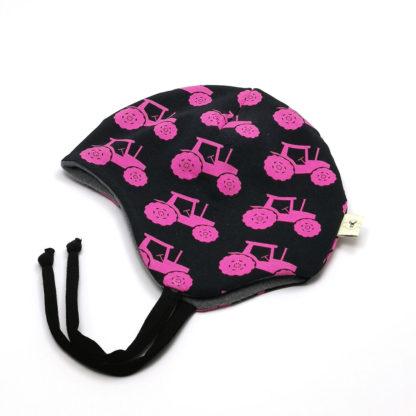 Svart med rosa traktor hjelmlue