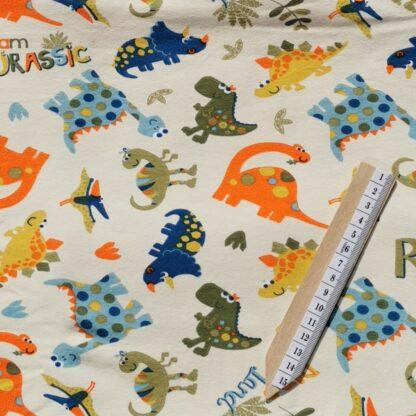Dinosaurer kremhvit stoff klær tøy