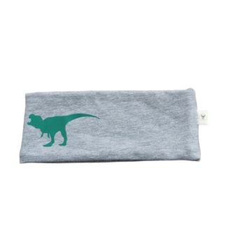 Grønn dinosaur i refleks pannebånd barn